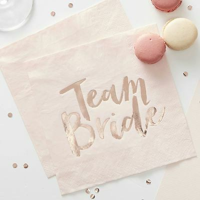 Team Bride Pink & Rose Gold Paper Napkins Hen Party Accessory Ginger Ray