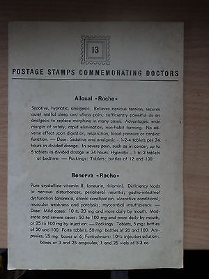 "Roche Switzerland Pharmacy Leaflet 1940s ""Postage Stamps Commemorating Doctors"""