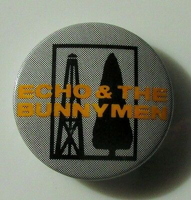ECHO & THE BUNNYMEN VINTAGE METAL BUTTON BADGE FROM THE 1980's POP RETRO