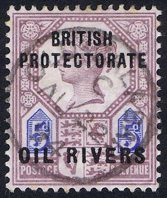 Oil Rivers 1892 5d Dull Purple and Blue SG5 OLD CALABAR RIVER CDS
