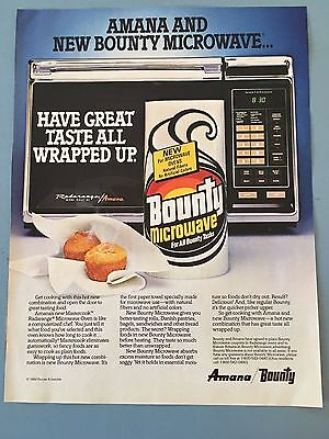Amana Microwave And New Bounty Microwave Vintage Ad 1984
