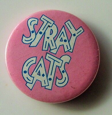 STRAY CATS VINTAGE METAL PIN BADGE FROM THE 1980's BRIAN SETZER ROCKABILLY