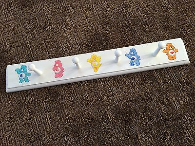 Vtg CARE BEARS Wooden Wall Clothing/Toys Hanger w/ 4 Pegs