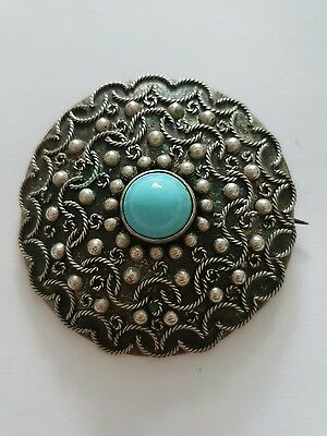 Antique Silver Filagree and Turquoise Brooch