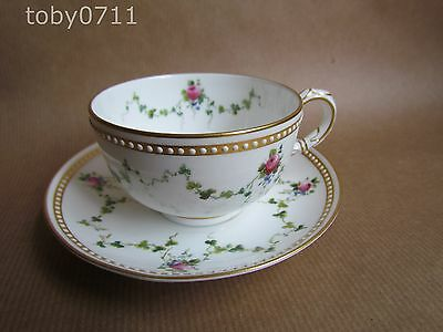 ROYAL WORCESTER W7783 JEWELLED / PINK ROSES / SWAGS CUP & SAUCER 1912 (Ref524)