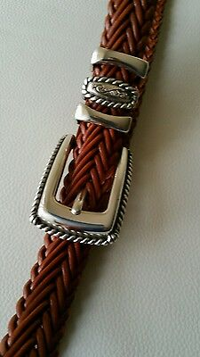 "Brighton Womens Fashion Belt-Brown Leather/Silver Metal-Size 34 ""L"""
