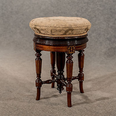 Antique Rotating Piano Music Stool Walnut with Marquetry Inlay Victorian c1880