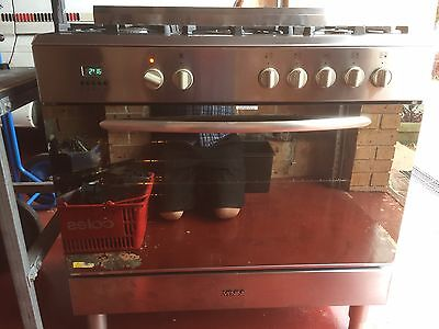 Venini Freestanding electric oven with 5 burner gas cooktop.