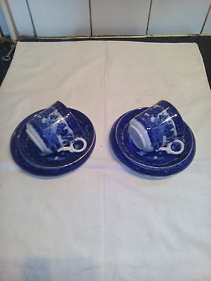 Two  Antique  Willow  Pattern  Trios