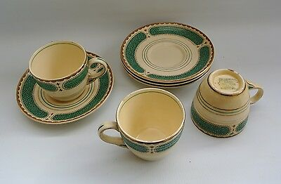 Vtg Art Deco Booths Ribstone Ware Small Demitasse Coffee Cups & Saucers Gilt rim