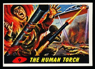 1962 TOPPS MARS ATTACKS CARD # 9 ~ THE HUMAN TORCH ~ NM Or Better Corners