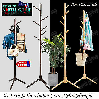 Solid Timber Coat Clothes Suit Hat Hanger Stand Rack Wardrobe Organiser