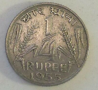 """""""1955 India 1/4  Rupee"""" Nickel Coin- Au Condition - Not Prof. Graded"""