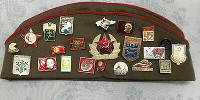 VTG Old Russian USSR Military Hat with 3 Patches And 22 Metal Pins~Ships Free