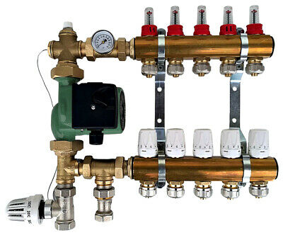 Thermostatic Mixing Group with Underfloor Heating Manifold 2-12 Port