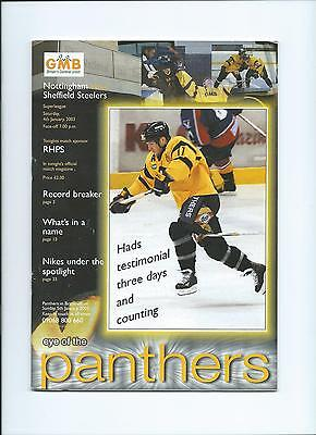 2003 Nottingham Panthers v Sheffield Steelers Jan 4th Mint