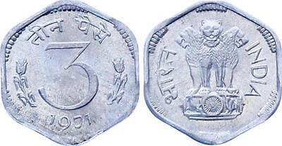 COIN India 3 Paise 1971 KM# 14