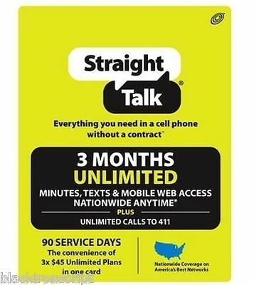 Straighttalk 3 Month Unlimited 90 Day Receive NOW!