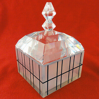 "OP ART COVERED WHITE BOX Swarovski Crystal 4.4"" tall NEW IN BOX Made in Austria"