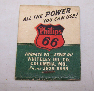 Vintage WHITELEY OIL CO Matchbook PHILLIPS 66 Columbia MO Missouri