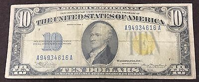 1934 A $10 Dollar Silver Certificate * Yellow Seal * A 94934616 A