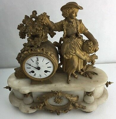 20th Century French  Bronze Gold Filled Marble Clock