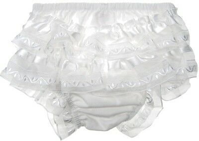 pair of baby cotton frilly pants  with satin frill-white