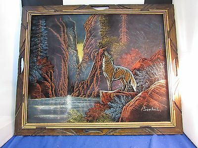 Black Velvet Painting Signed Senchez Native American Indian ~ Wolf (Indian head)