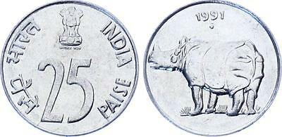 COIN India 25 Paise 1991 KM# 54