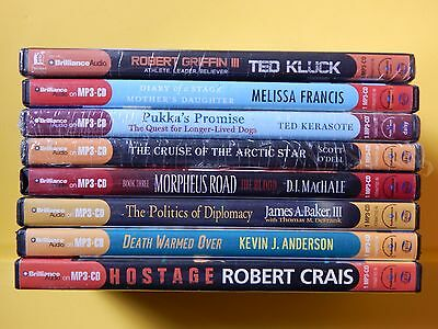 Lot of 8, MP-3, Audio Books. Various Authors See Photos
