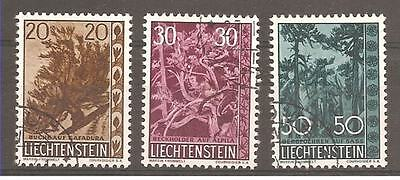 Liechtenstein 1960 Set of 3 Trees and Bushes. SG 401/3. Fine Used.