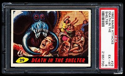 1962 Topps Mars Attacks Card # 29 ~ Death In The Shelter ~ Graded Psa 6 Ex-Mint