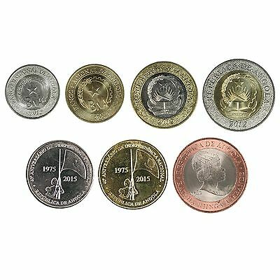 Angola 7 Coins Full Set 2012 - 2015 Super Rare High Grade Set With Bimetallic
