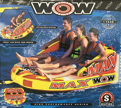 NEW 2017 WOW Max 1/2/3 Person Towable Water Ski Sport Tube Boat Lake Inflatable