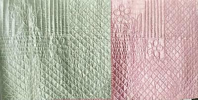Vintage Hollywood Glam Satin Hand Md Quilt Blanket Throw Cottage Chic Pink/Green