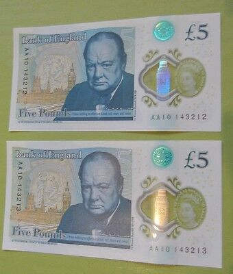 lot 7; NEW £5 POUND NOTES X 2 UNCIRCULATED. 'AA10' SERIAL NUMBERS CONSEC  NOTES