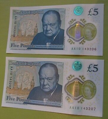 lot 4; NEW £5 POUND NOTES X 2 UNCIRCULATED. 'AA1' SERIAL NUMBERS CONSEC  NOTES
