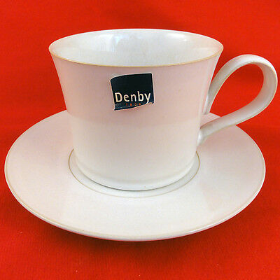 "SIGNATURE Denby CUP & SAUCER SET 3.2"" tall NEW NEVER USED Made in England"