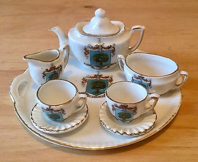 Gemma Stamped Arms Of Colwyn Bay Crested Miniature China Tea Set