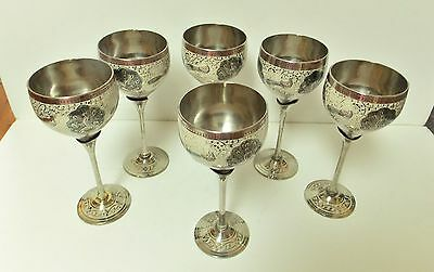 Set Of 6 Silver Plated Long Stem Wine Goblets Peacock Inlay India