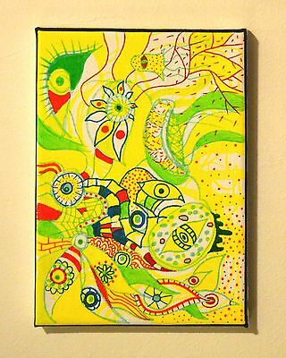 Modern Yellow,Green,Red Psychedelic Colourful Oil Painting Canvas,New Home Art