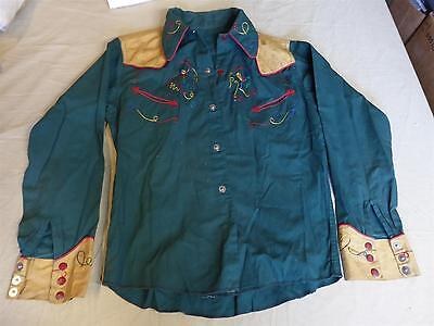 Vintage 1940s BOYS/KIDS WESTERN/COWBOY SHIRT - Hand Stitched/Embroidered Horses