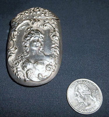 Antique Sterling Silver Victorian Lady Match Safe/Vesta
