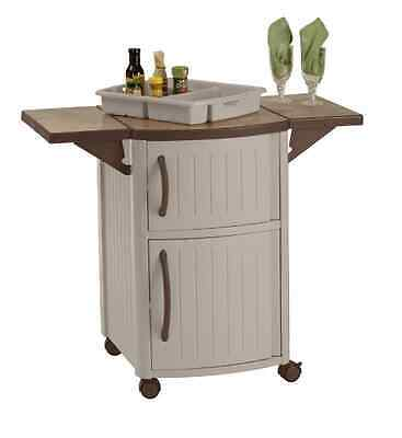 Suncast Rolling Outdoor Patio Serving and Prep Station Cart with Cabinet Storage