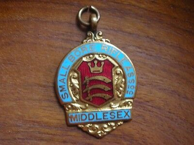1960's MIDDLESEX SMALL BORE RIFLE ASSOCIATION PISTOL ENAMEL METAL FOB BADGE