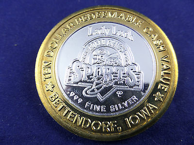 Lady Luck Casino - Roger Craig's Sports Bar  - $10 Gaming Token - Stamped .999