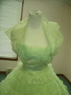 Lime Green 1950S Prom Gown With Bolero Jacket Size 5
