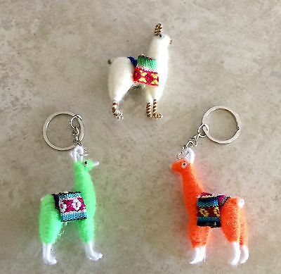 Lot of 2 Llama Key Chains Plus 1 Llama Fridge magnet From Peru