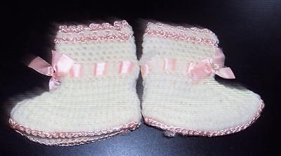Vintage Crochet Baby Booties Baby Girl Ivory with Pink Trim Handmade