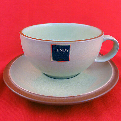JUICE - APPLE GREEN Denby CUP AND SAUCER SET NEW NEVER USED  Made inEngland